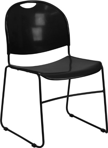 Textured Polypropylene Stacking Chairs - Flash Furniture 4 Pk. HERCULES Series 880 lb. Capacity Black Ultra Compact Stack Chair with Black Frame