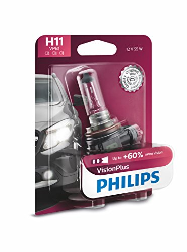 Philips H11 VisionPlus Upgrade Headlight Bulb with up to 60% More Vision, 1 Pack (Mazda Cx 5 2017 Touring Vs Grand Touring)