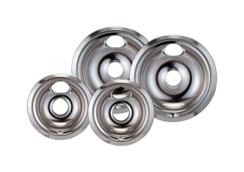 Stanco 4 Pack GE/Hotpoint Electric Range Chrome Reflector Bowls With Locking Slot - Chrome Burner Bowls