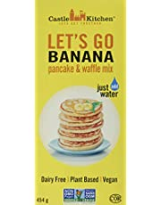 Castle Kitchen Lets Go Banana Pancake & Waffle Mix – Vegan, Plant Based, Dairy Free, Non-GMO Project Verified, Kosher, Complete Mix, Just Add Water – 454gr