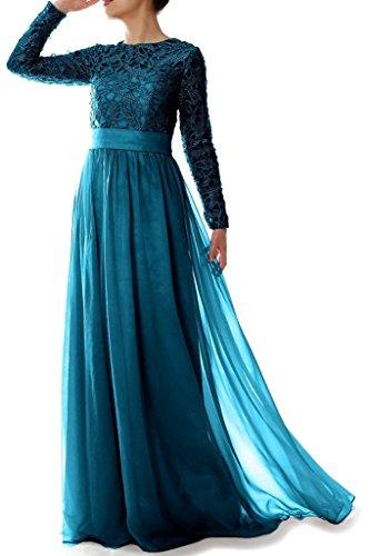 Abendkleider der eine HWAN Chiffon rmeln Linie Kleid Frauen Teal Braut langen mit Mutter Spitze 77zF1wqx