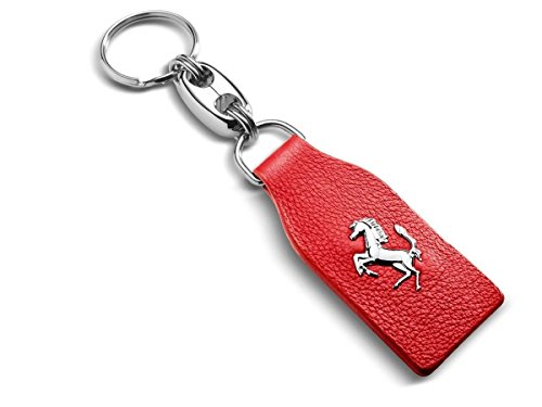 Authentic Ferrari Red Leather Keychain 70003779