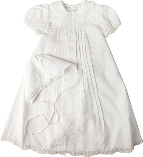 Feltman Brothers Christening - Feltman Brothers Girls Christening Gown White Batiste Lace with Bonnet 9/12m