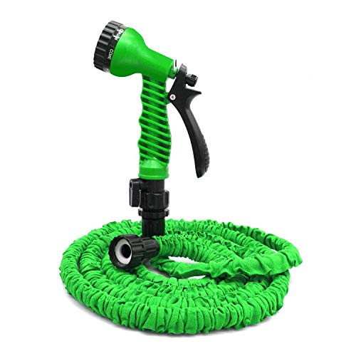 OUTFANDIA Garden Hose, Water Hose, 25FT Expandable Garden Water Hose, Double Latex Core – Extra Strength Fabric Protection – 7 Functions Spray Nozzle, Collapsible Hose for Flowers and Plants