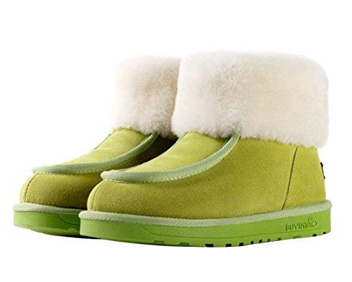 HooH Damen Nubuck Wolle Winter Warm Schneestiefel Grün
