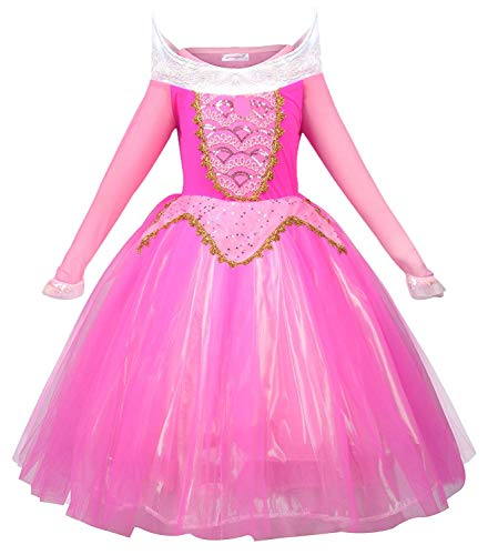MOREMOO New Princess Aurora Costume Girls Party Dress(Pink -