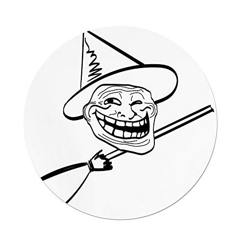 iPrint Polyester Round Tablecloth,Humor Decor,Halloween Spirit Themed Witch Guy Meme Lol Joy Spooky Avatar Artful Image,Black White,Dining Room Kitchen Picnic Table Cloth Cover,for Outdoor Indoor for $<!--$30.66-->