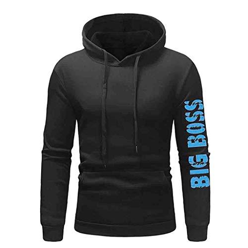 HULKAY Mens Slim Fit Long Sleeve Fleece Print Drawstring Hoodie Sweatshirt Pullover Tops with Pockets(Black,XL) ()