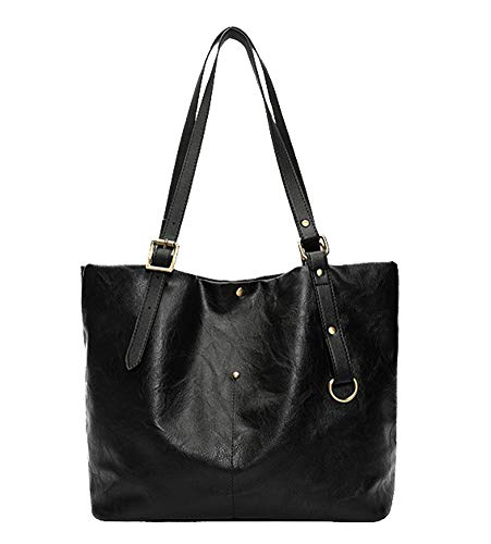 Patent Large Hobo Leather (Hycurey Women Handbags Hobo Shoulder Bags Tote PU Leather Handbags Fashion Large Capacity Bags Black)