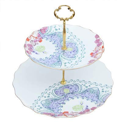 MTcadelon English Afternoon Tea 2 Tier Porcelain Cake Plate Bone China Double Pastry Tray Rack Ceramic Household Fruit Cake Tray Retro Pastoral