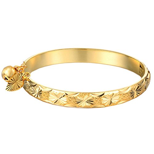 UM Jewelry Gold Plated New Born Baby Bracelet Bangle for Infant with Charms Heart Leaf,Bell 5.31