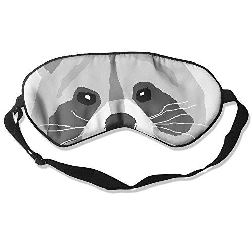 WUGOU Sleep Eye Mask Cute Raccoon Lightweight Soft Blindfold Adjustable Head Strap Eyeshade Travel Eyepatch -