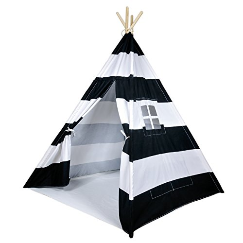 (A Mustard Seed Toys Striped Kids Teepee Tent - Portable Canvas Tent, No Extra Chemicals, Includes Carrying Case (Black))