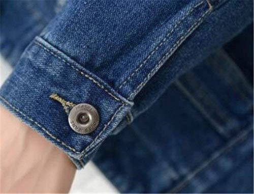 Giaccone Cappotto Bavero Corto Giovane Anteriori Casual Giacche Jeans Donna Blue Elegante Bolawoo Autunno Giacca Manica Tasche Marca Mode Single Lunga Medium Breasted Di nYn06Rqw