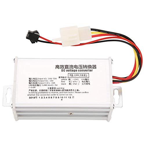 DC Converter Step-Down Power Supply Module DC-DC 24V-72V to 12V High Efficiency 10A Buck Voltage Regulator With 5V 2A USB Output