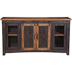 "Martin Svensson Home Santa Fe 65"" TV Stand, Antique black & Aged Distressed Pine"
