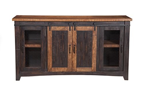 "Martin Svensson Home Santa Fe 65"" TV Stand, Antique black & Aged Distressed Pine"