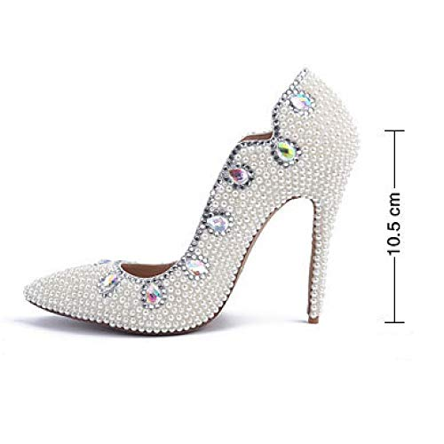 Diamond Women Elegant High Ladies Pumps Bride Pearl Wedding White Heeled Shoes Evening For Stiletto Toe Shoes Prom Pointed Colored Party rrwEFT