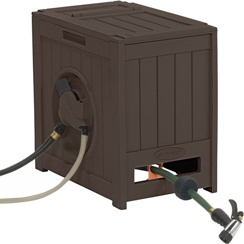 125' Auto Rewind Hose Reel & Storage, Java, Water-Powered Winding