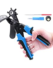 Leather Hole Punch Hole Punch Tool Belt hole Punch Pliers with measuring ruler screwdriver cut-off material removal Awl Rotary hole puncher for Belt, Saddle, Tack,Watch Strap, Shoe (BO003-US-1)
