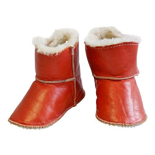 Hollert German Leather Fashion Baby Lammfellschuhe - mit Klettverschluss Kinder Hausschuhe Boots Merino Schaffell Orange
