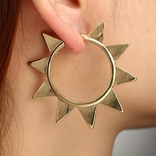 (CHoppyWAVE Exaggerated Hollow Sunflower Big Circle Fashion Women Hoop Earrings Jewelry Gift - Golden)
