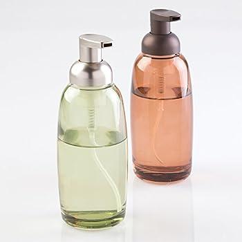 MDesign Glass Foaming Soap Dispenser Pump 2pc Bathroom Accessory Set    Green/Brushed, Sand