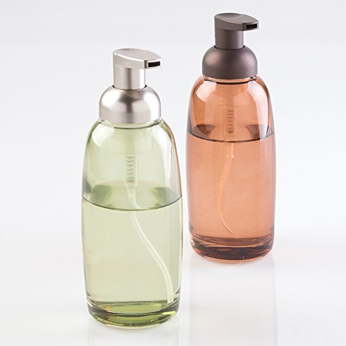 mDesign Glass Foaming Soap Dispenser Pump 2pc Bathroom Accessory Set - Green/Brushed, Sand/Bronze