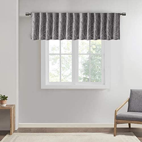Andora Embroidered-Rod Pocket Valance , Tree Small Faux Silk Valances for Window , 50X18 , Grey