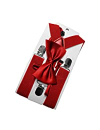 Red Bow Tie and Suspender Set - Imported Premium Material for Kids, Toddlers, Boys