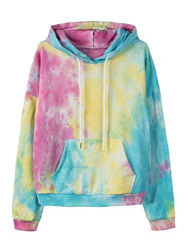 Women's Casual Rainbow Tie-Dye Graphic Pullover Drawstring Hoodie Sweatshirt S
