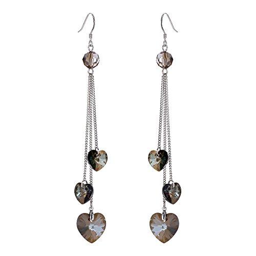 Dangling Heart 3 - FANZE Women's 3 Love Heart High Polished Long Tassel Dangle Drop Earrings Made with Swarovski Crystal