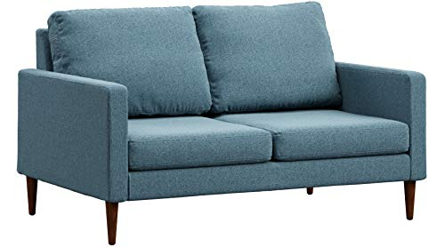 Campaign Steel Frame Brushed Weave Loveseat, 61 Inches, Meridian Blue with Mahogany Stained Solid Oak - Stained Finish Mahogany