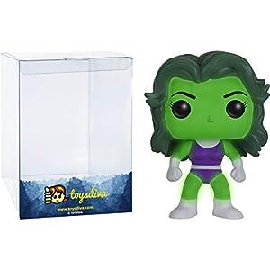 41JU7iNpzOL. SS300 She-Hulk [Glow-in-Dark] (Comikaze Exc): Funko Pop! Vinyl Figure Bundle with 1 Compatible 'ToysDiva' Graphic Protector (147 - 11836 - B)
