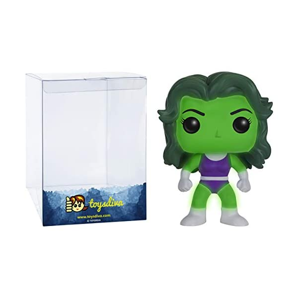 41JU7iNpzOL She-Hulk [Glow-in-Dark] (Comikaze Exc): Funko Pop! Vinyl Figure Bundle with 1 Compatible 'ToysDiva' Graphic Protector (147 - 11836 - B)