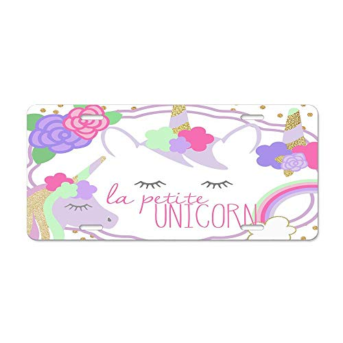La Petite Unicorn Clip Art Collection License Plate Aluminum License Plate Cover Decorative License Plate for Women/Men Car Tag 4 Hole and Screws