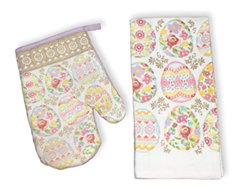 Plum Nellie's Treasures Easter Designs Kitchen Towel & Oven Mitt Set - Peter Cottontail, Dog Bunny Ears & Floral Easter Eggs (Floral Easter Eggs, Kitchen Towel & Oven Mitt)