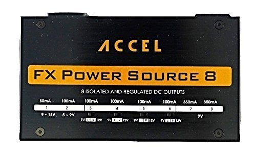 Accel Isolated Output Pedal Power Supply for Guitar Effects Pedals by Power Source 8 Power Supply