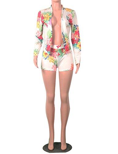 0943a4e530c6 Angsuttc Women s Floral Print Long Sleeve Open Front Blazer Jacket + Short  Set 2 Piece Outfit