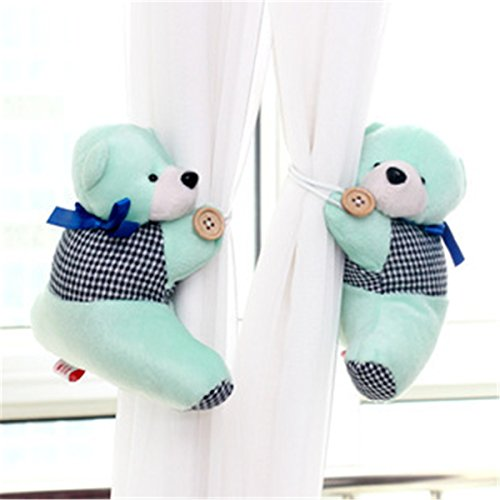 HEARTFEEL 1 Pair Bear Tiebacks Set Decorations Window Treatment Curtains Holdbacks Baby Kid Toddler Curtain Tieback Curtain Holders Bear Curtain Tie Backs