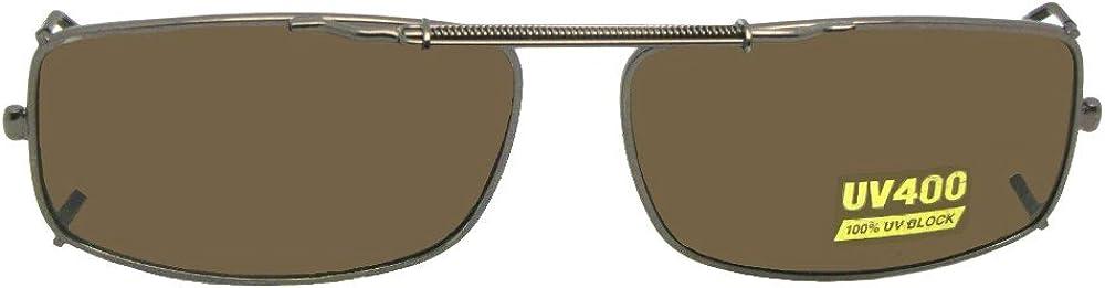 Slim Rectangle Non Polarized Clip on Sunglasses