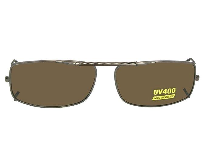b2f511be66 Slim Rectangle NON Polarized Clip On Sunglasses (Bronze-NON Polarized Brown  Lens