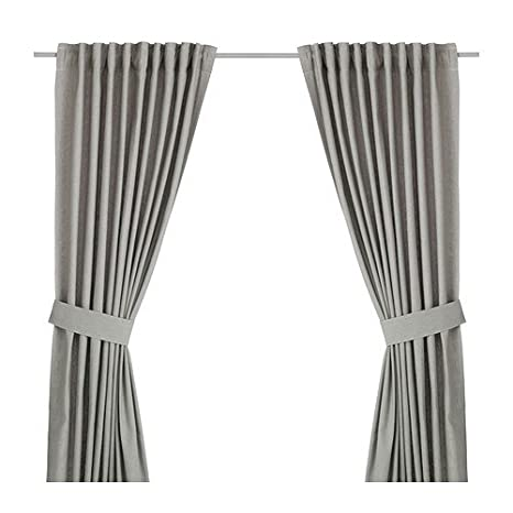 IKEA Vorhang-Set INGERT - zwei blickdichte Gardinen mit Raffhalter - 145 x  300 cm - Fläche: 4.63 m² - mit SY-Band - GRAU