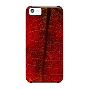 Tpu Case Cover For Iphone 5c Strong Protect Case - Red Grape Leaf Nature Design