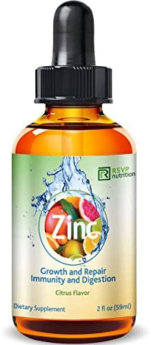 Vitamin Zinc Liquid Drops   Support Healthy Immune System Functions   Highly Absorbable   Dietary Supplement   Glass Bottle 2 fl oz (59ml)