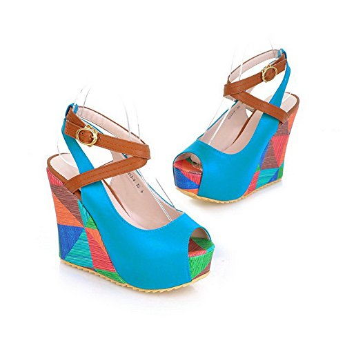 AmoonyFashion Womens Open Peep Toes High Heel Platform Wedge PU Soft Material Assorted Colors Sandals Blue N2QEWXPa