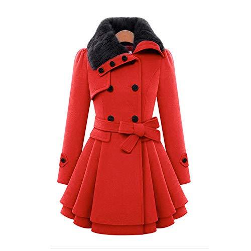 Doppio Invernale 3xl Cappotto Con red Lana In Gaoqq Donna Cintura Trench Coat Misto s Petto Red 8wdZvq5