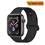 YANCH Compatible with for Apple Watch Band 42mm 44mm, Soft Silicone Sport Band Replacement Wrist Strap Compatible with for iWatch Nike+,Sport,Edition,M/L,Black