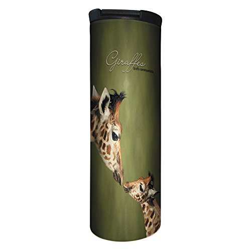 Tree-Free Greetings BT20812 Barista Tumbler Vacuum Insulated, Stainless Steel Travel Coffee Mug/Cup, 17 Ounce, Parent and Child Giraffe