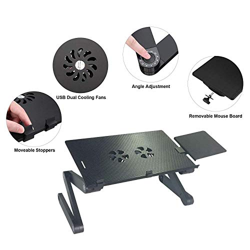 Laptop stand For Bed and Sofa, Cozy Desk Portable Adjustable Laptop Table Stand Up/Sitting With 2 CPU Cooling Fans And Mouse Pad, Ergonomics Design Aluminum Suitable For Reading Studying